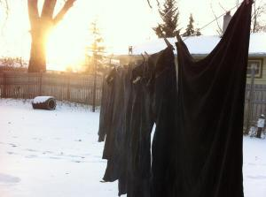Laundry steaming on the winter line
