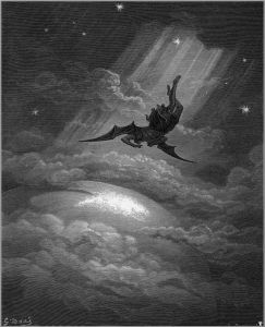 This is actually from Milton's 'Paradise Lost' and it shows the downfall associated with excessive pride. The plummeter here is Lucifer who, as we all know, had IDEAS. Wikipedia uses this image. Because Lucifer is, like, the poster child for this stuff.