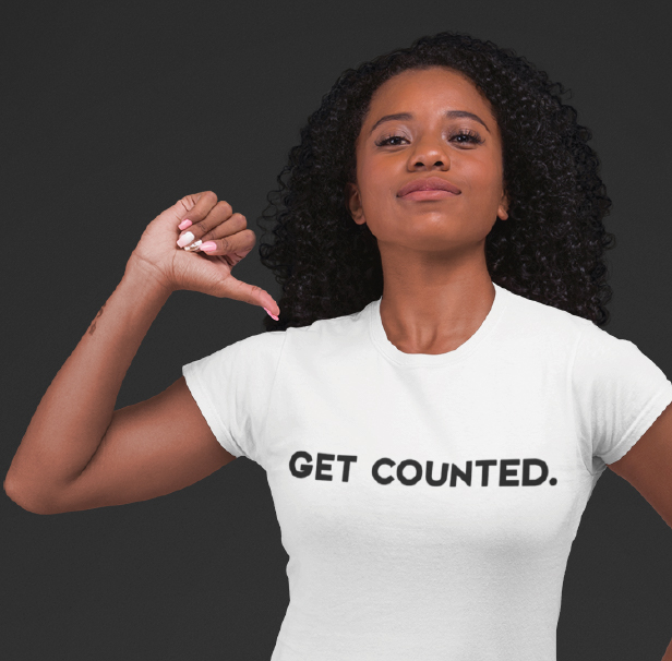 African American women wearing a get counted t-shirt