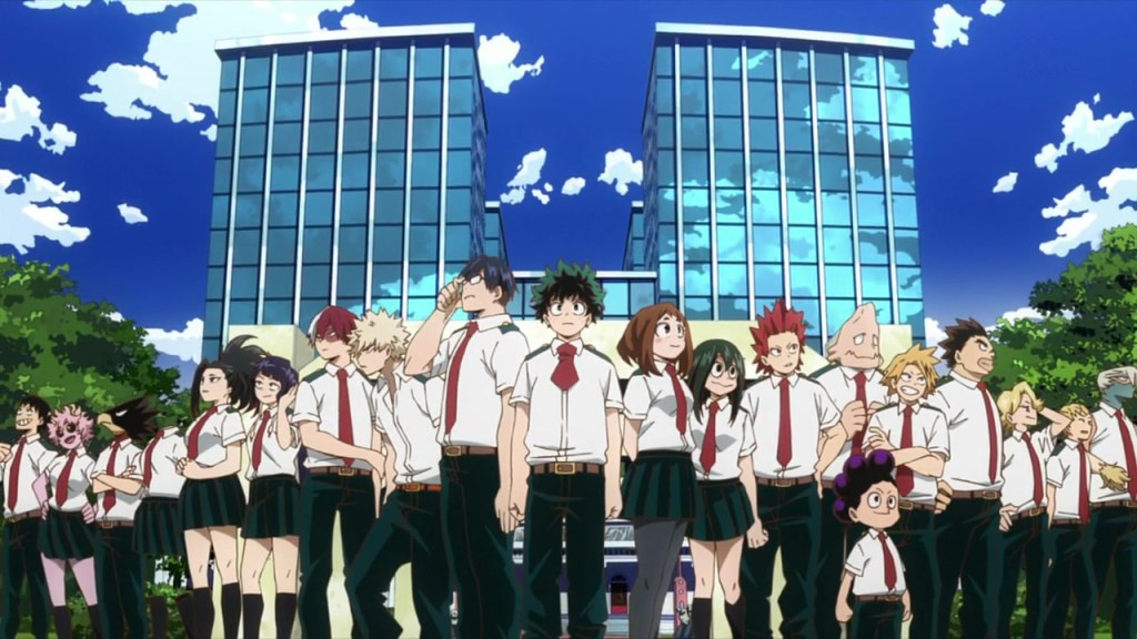 The cast of My Hero Academia from the Season 3 ED.
