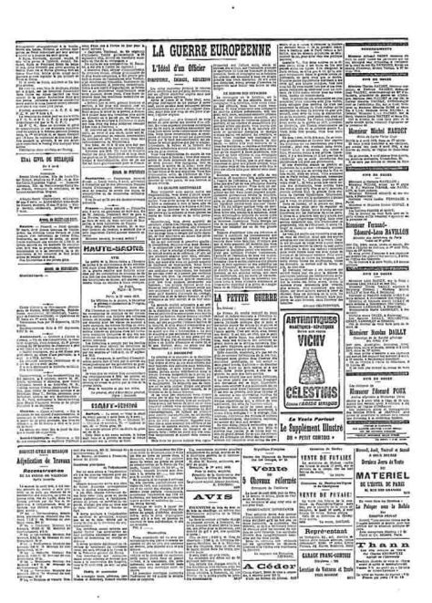 """Comme cela est indiqué dans le livre de Montbéliard, l'édition du Petit Comtois du mercredi 5 avril 1916 a bien été caviardée à la rubrique """"Montbéliard"""" en page 3 colonne de gauche."""
