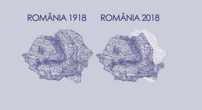 Harta României 1918 vs harta României 2018