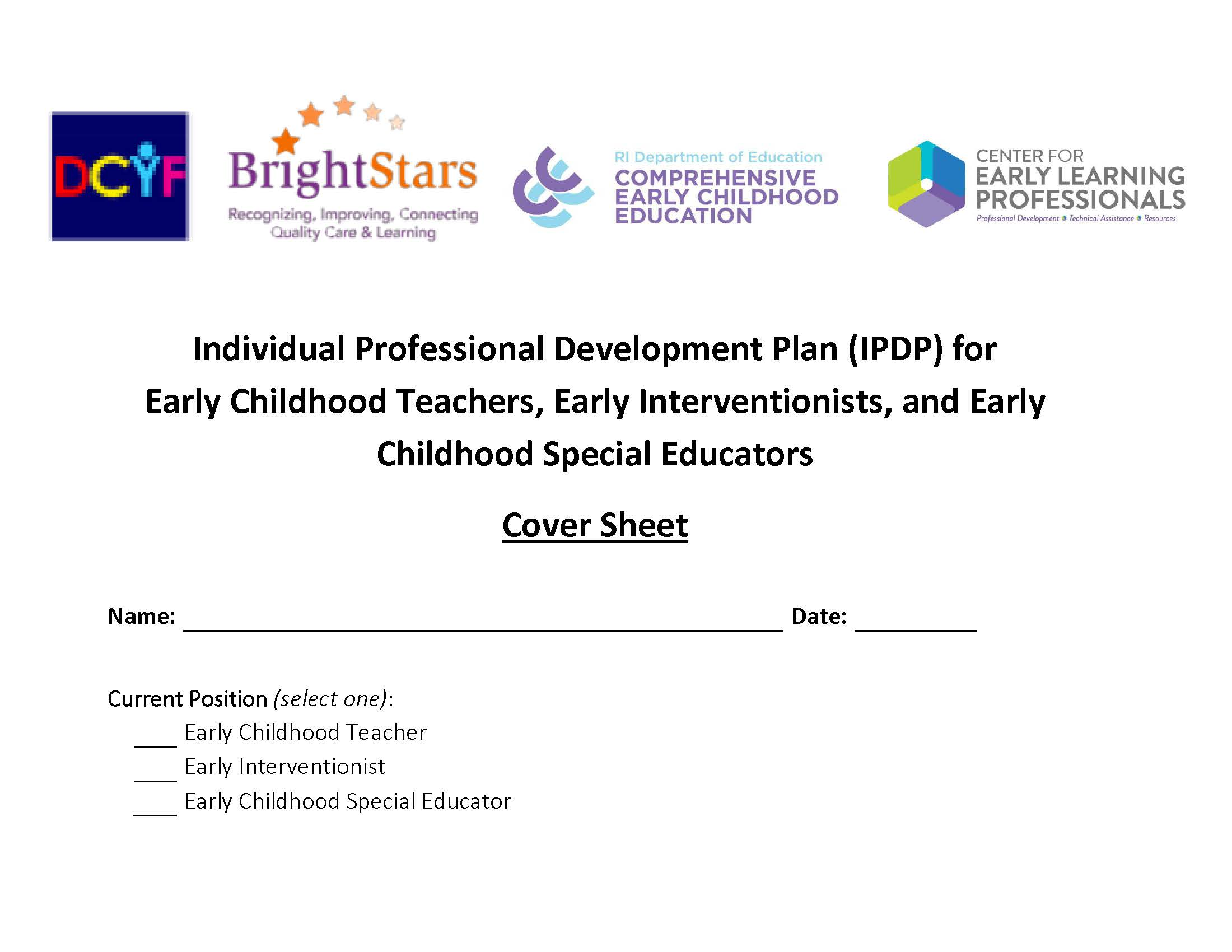 Examples Form Professional Individual Plan Development