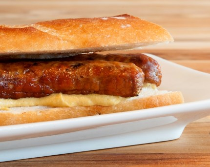 A French classic: lamb merguez sausage dressed with mustard
