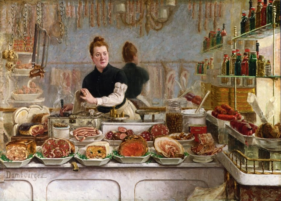 Edouard-Jean Dambourgez (French, 1844-1890) A Pork Butcher's Shop