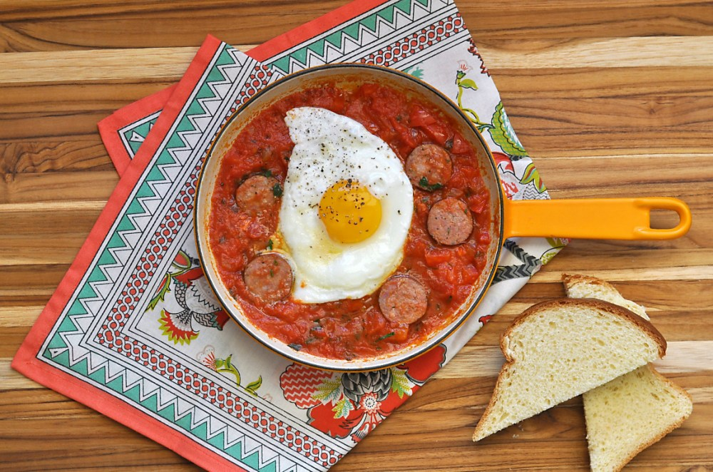 andouille-and-tomato-sauce-poached-eggs-recipe