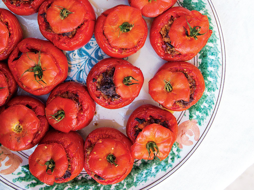 Saveur photo by Michelle Heimerman Tomatoes Stuffed with Foie Gras, Duck Confit, and Chanterelles (Tomates Farcies)
