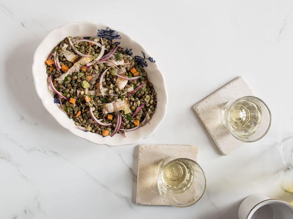 Saveur photo by Matt Taylor-Gross Lentil Salad with Pork Belly