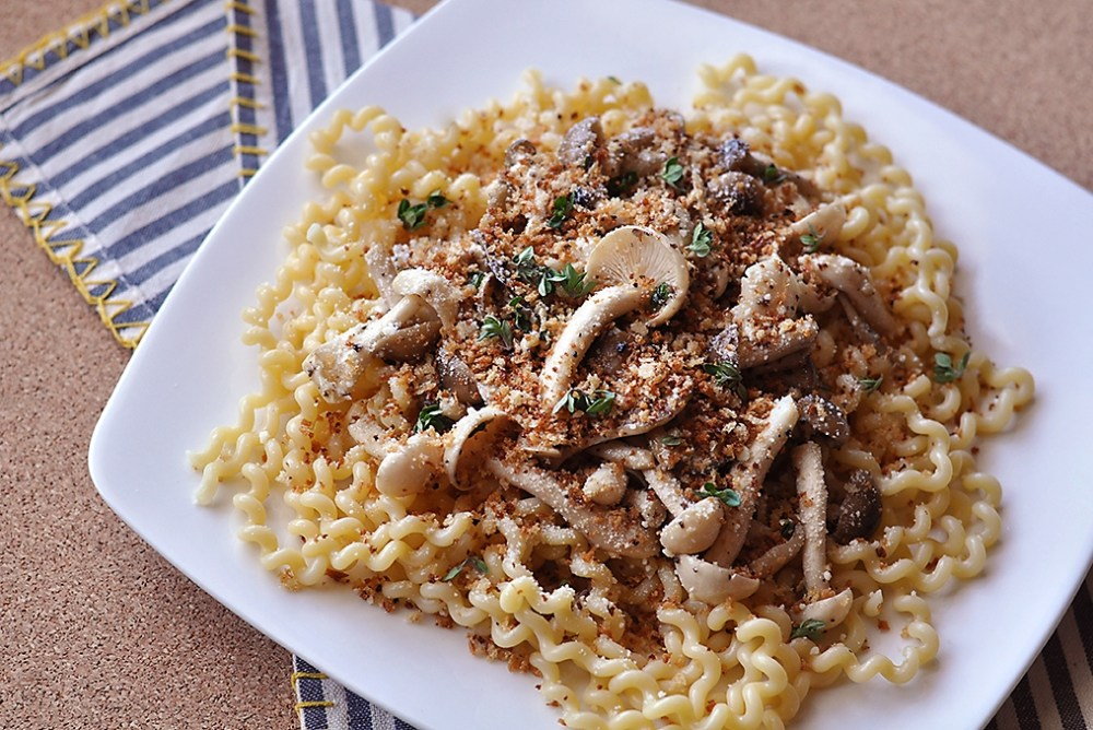 mushroom-pasta-with-truffle-butter-breadcrumbs-recipe