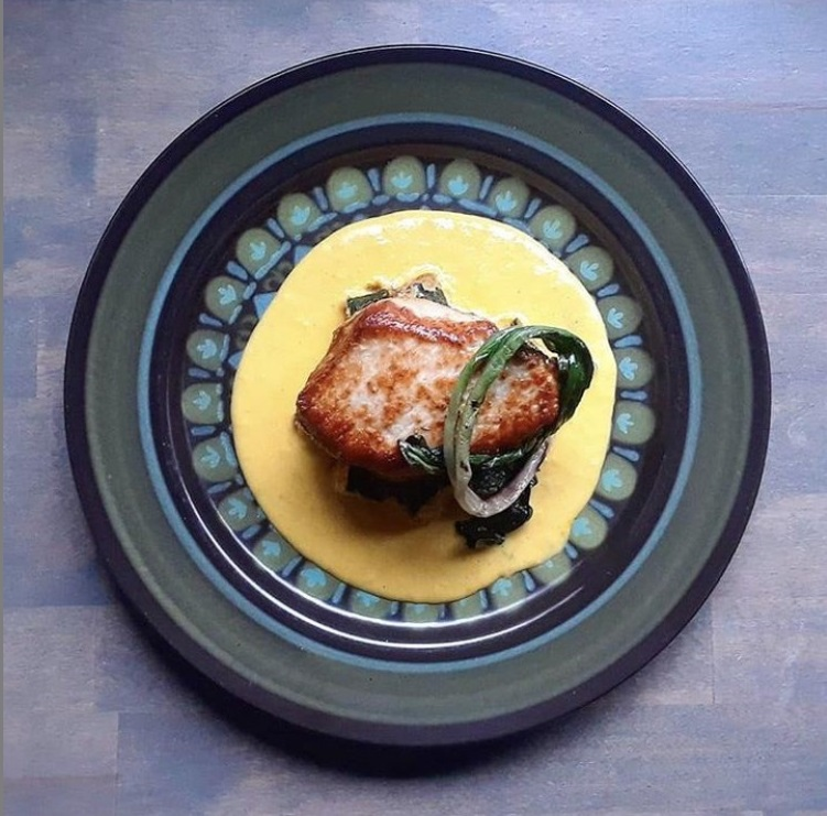 IG Berkshire pork loin, fried zucchini, sweet corn purée and grilled wild ramp by Franklin Hunter of brigadestp in St. Paul, MN