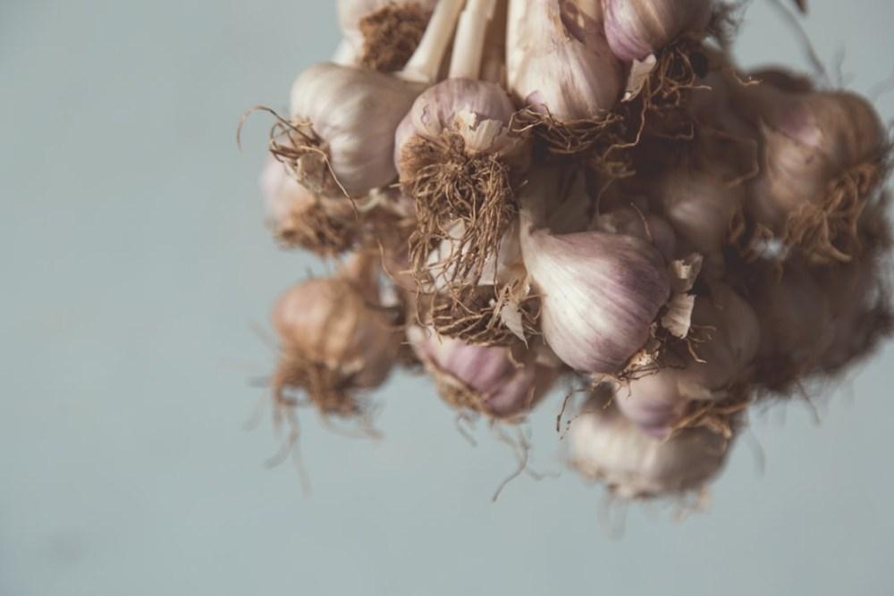 Whole garlic hanging