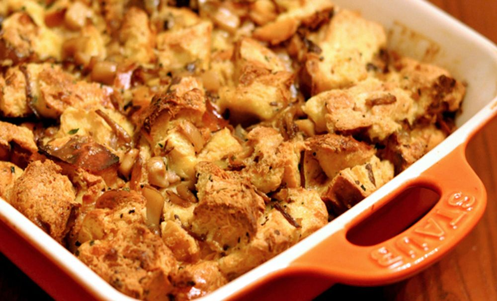 This image has an empty alt attribute; its file name is wild-mushroom-bread-pudding-recipe-1-1024x621.jpg