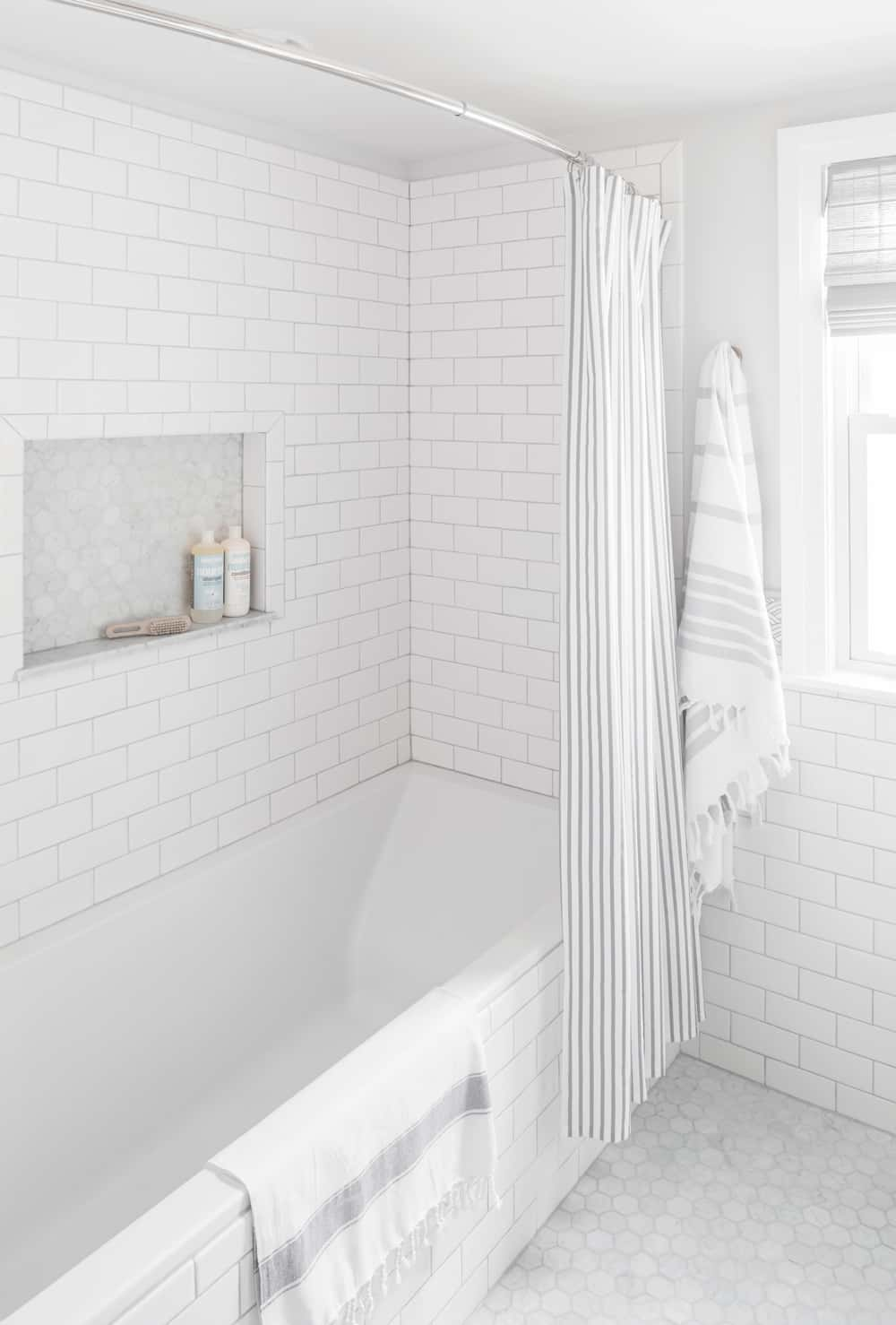 Small Bathroom Renovation White Subway Tile Centered By