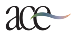 Autism Center for Excellence logo including the letters ace with a colored line through it