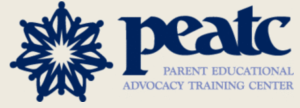 Parent Educational Advocacy Training Center logo PEATC with flower -like symbol