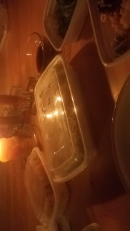 Takeaway dinner by candlelight