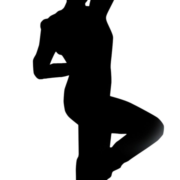 Silhouette of woman pumping fist