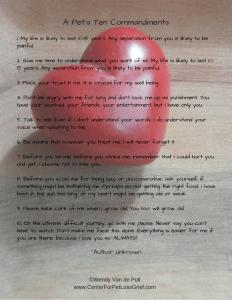pet loss poem pets ten commandments
