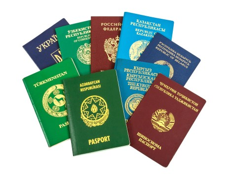 Different foreign passports isolated on white background