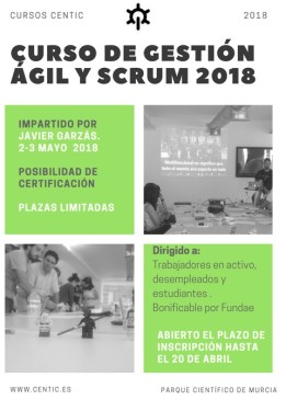 curso gestion agil scrum cartel 2 y 3 mayo 2018 centic