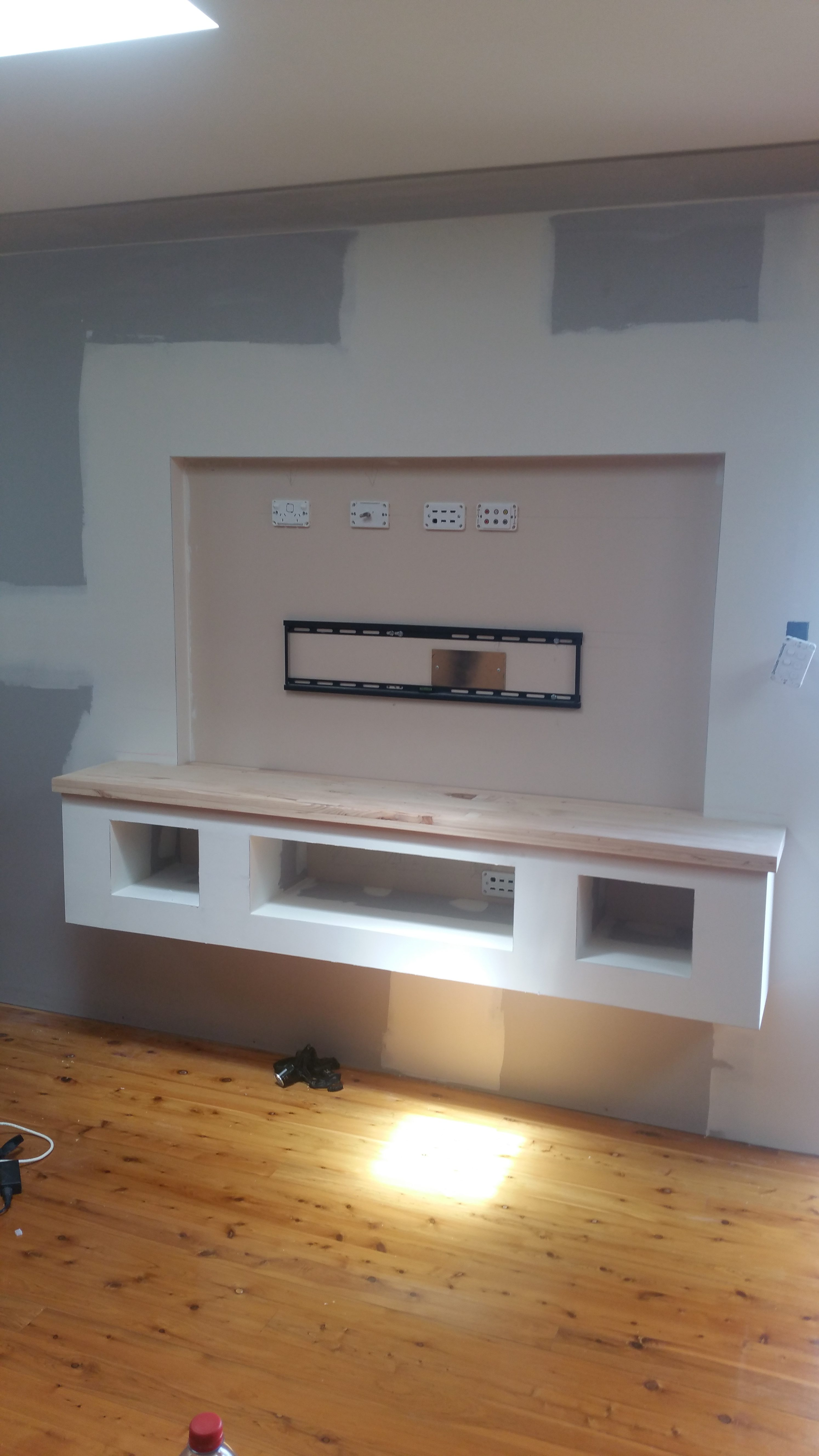 tv mount & timber top in position