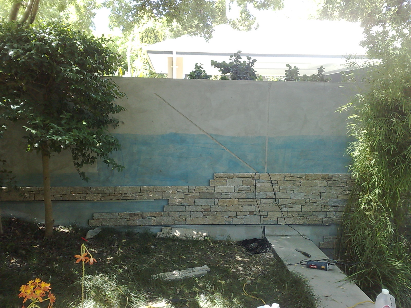 stack stone wall in progress makeover central coast gosford