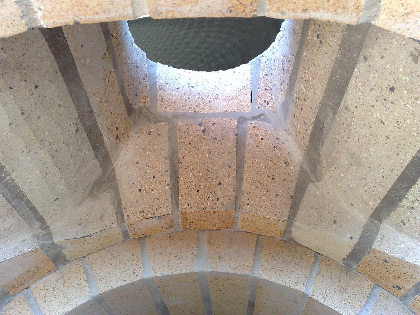 Shaped chimney bricks from below