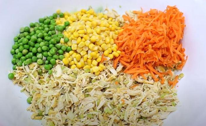 ervilha, milho, frango e cenoura