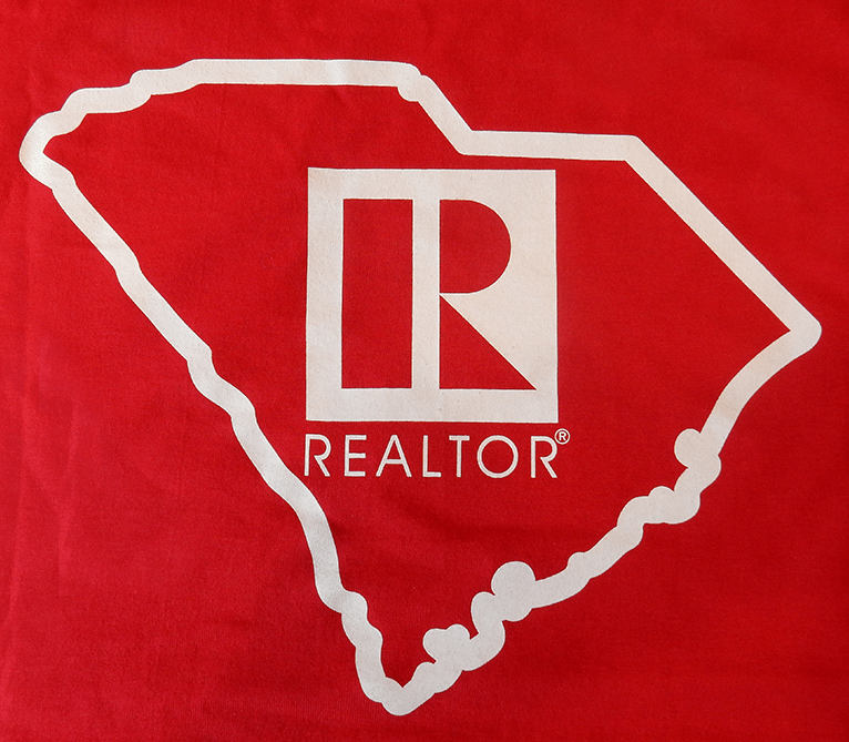 REALTOR® Red Shirt For Sale, shows state outline and REALTOR® Logo