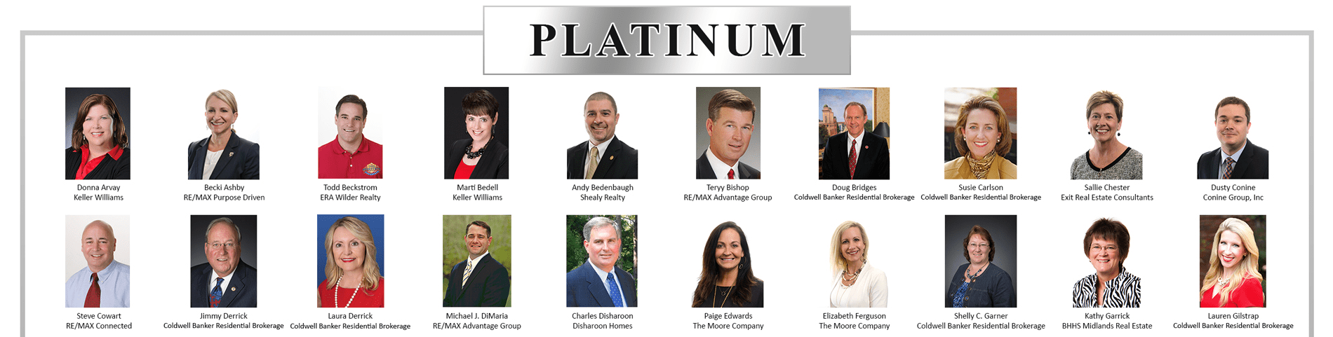 Top half of Platinum Residential Circle of Excellence Winners