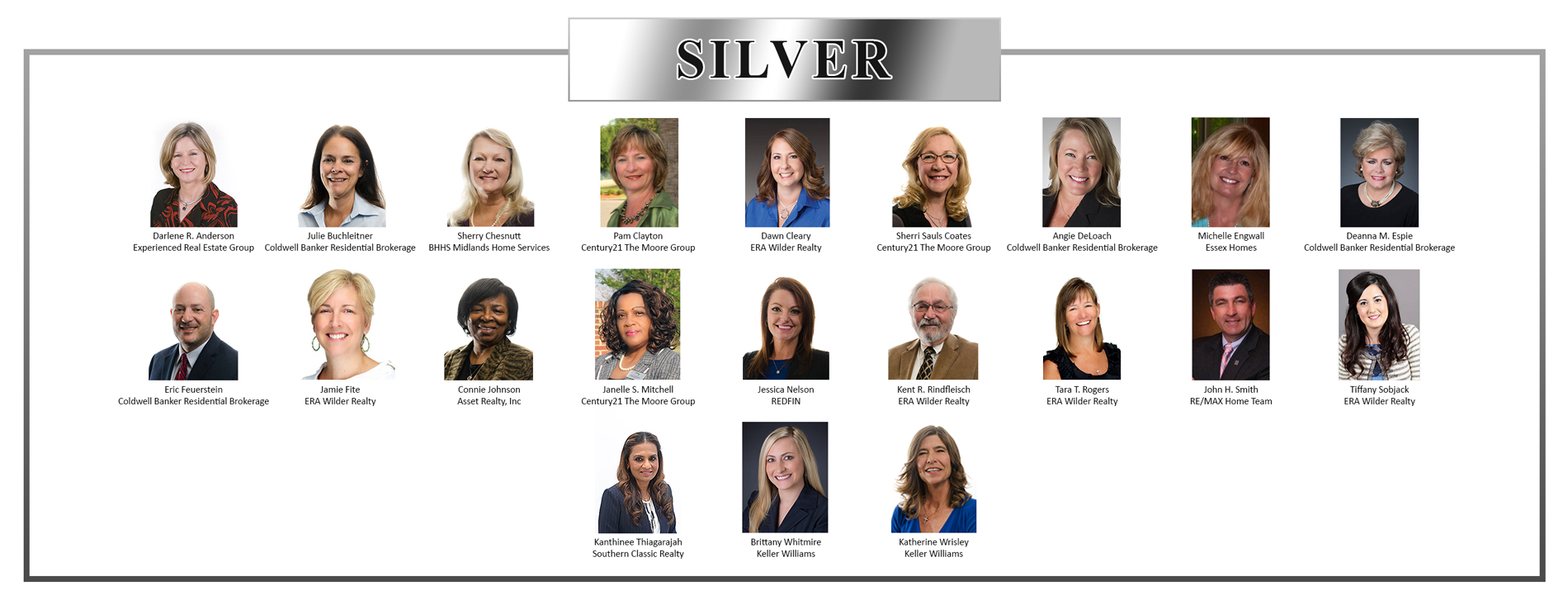 Silver Residential Circle of Excellence Winners - 2016