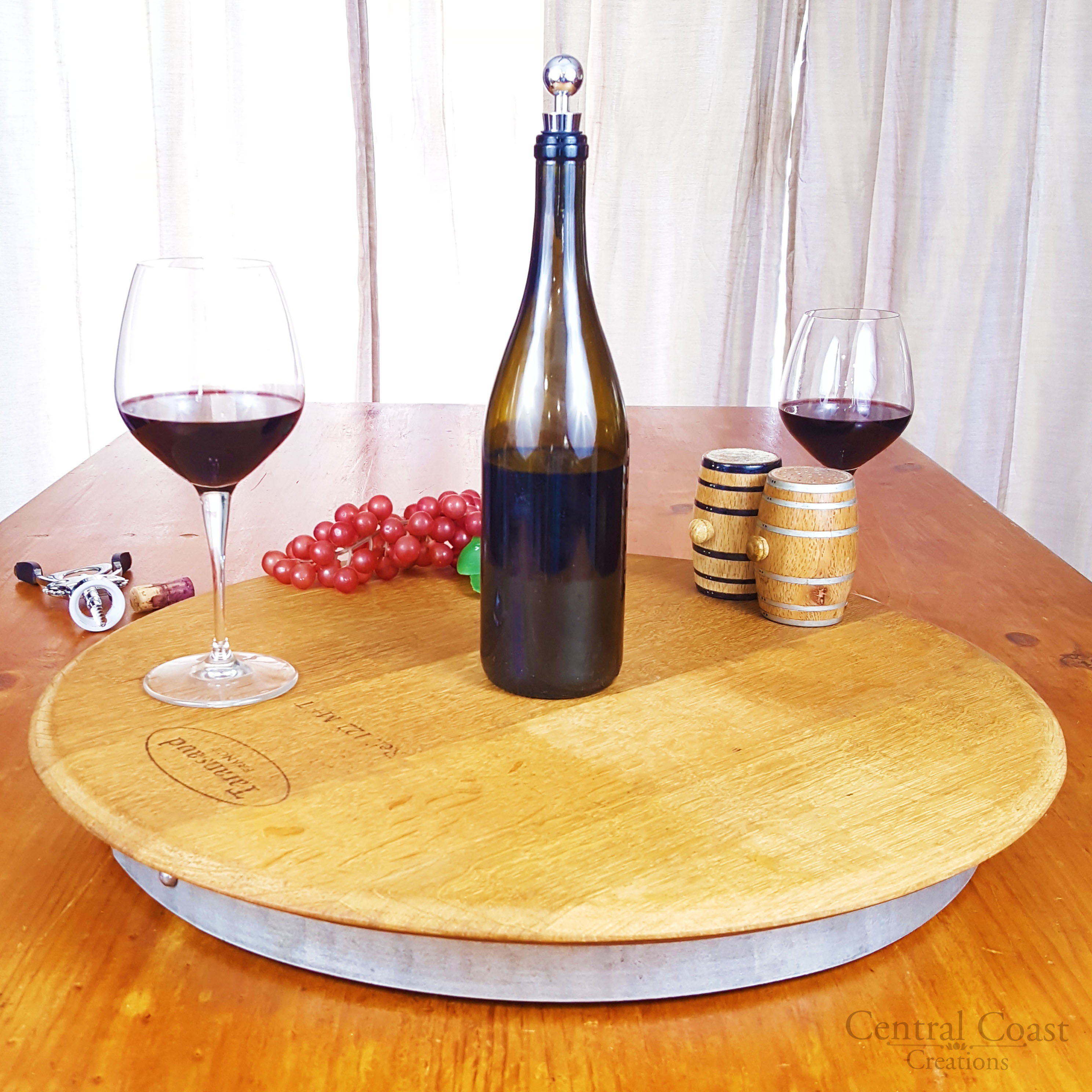 Wine Barrel Head Lazy Susan Central Coast Creations