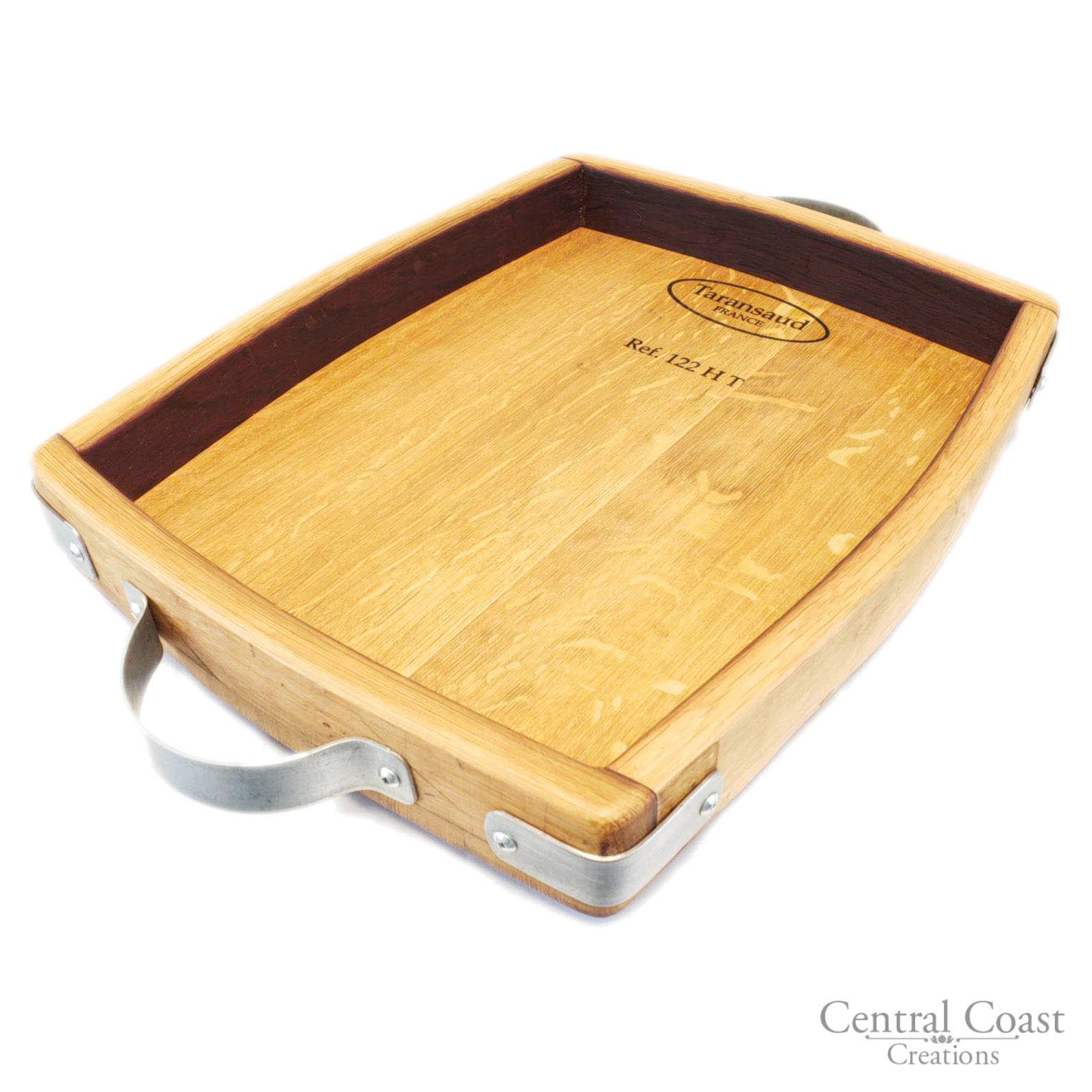 Wine Barrel Steel Hoop Handles Decorative Rustic Serving Tray