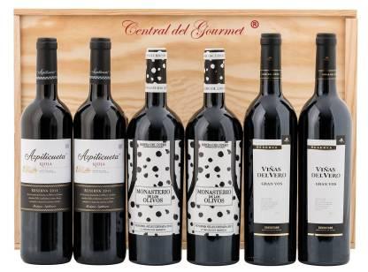 Caja Madera grandes vinos para degustar