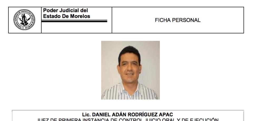 Captura de pantalla de la página oficial del Poder Judicial del Estado de Morelos.