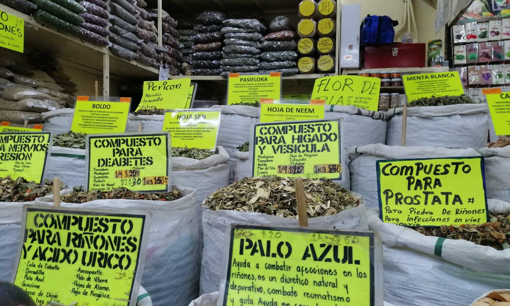 Plantas medicinas en mercado