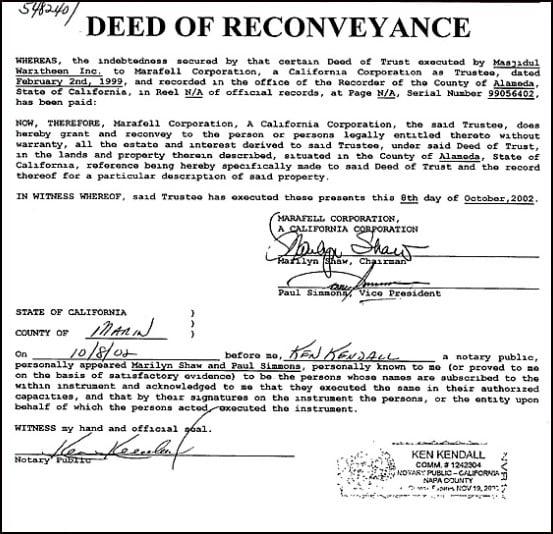 Reconveyance Deed