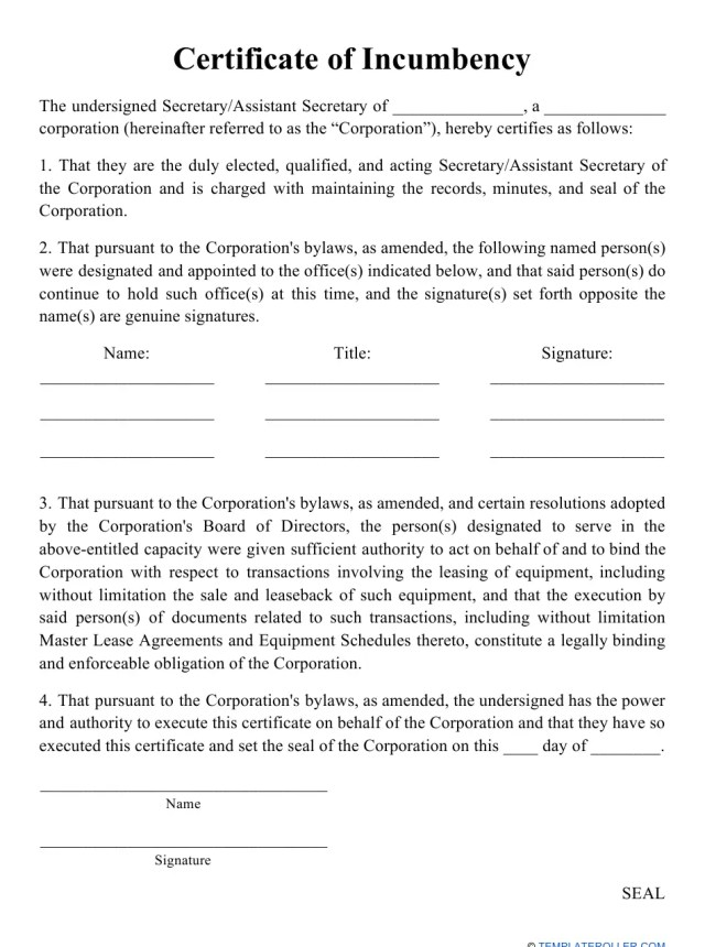 incumbency certificate