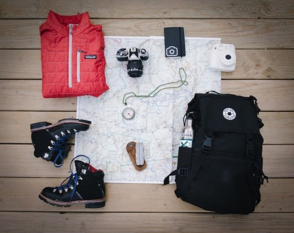 Travel essentials on a map