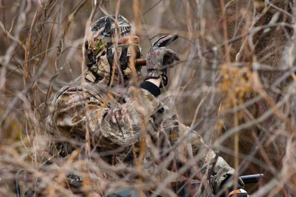 Hunter calling ducks in duck hunting season
