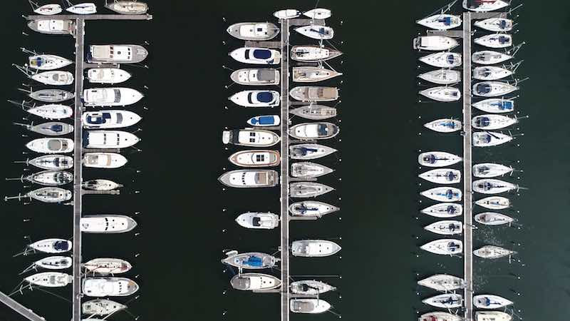 Aerial view of boats docked in marina