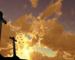 crosses silhouette with the sunset as background
