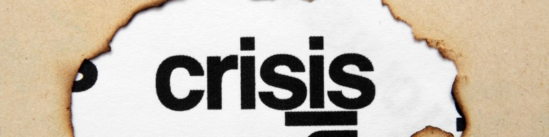 Crisis text on paper hole