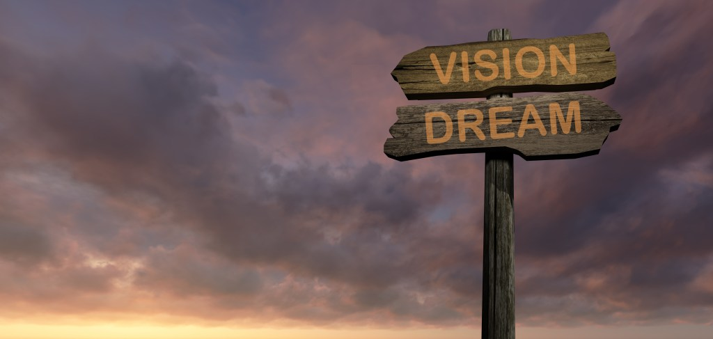 Two wooden signs pointing in opposite directions (vision-dream)