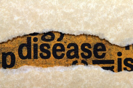 "Word ""disease"" showing through torn paper"