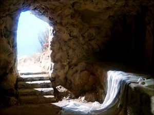 Picture looking out from an empty rock tomb