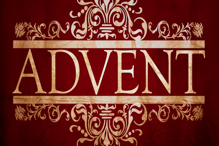 Gold stylized ADVENT on a burgundy background.