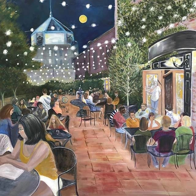 Painting of iconic downtown scene by Beth Chasco