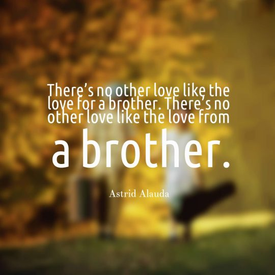 There's no other love like the love for a brother. There's no other love like the love from a brother.