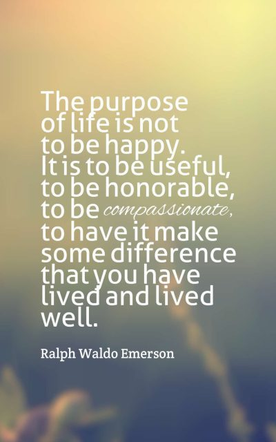 The purpose of life is not to be happy. It is to be useful, to be honorable, to be compassionate, to have it make some difference that you have lived and lived well.